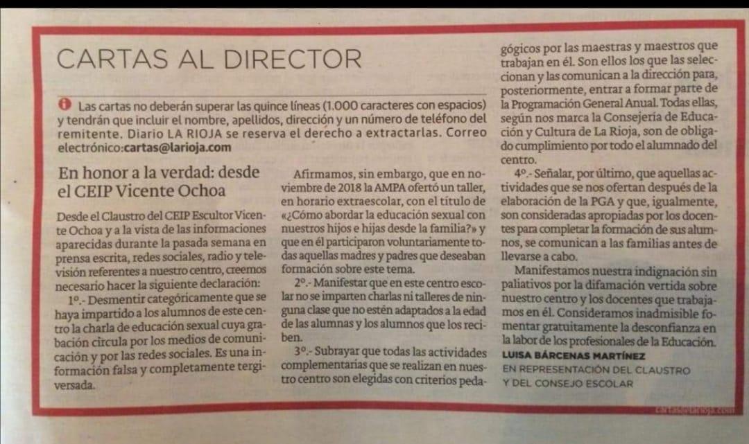 Vicente Ochoa en el Diario La Rioja